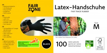 FAIR ZONE Black Foodgrade (lebensmittelecht) Rubber Gloves Medium 100pc