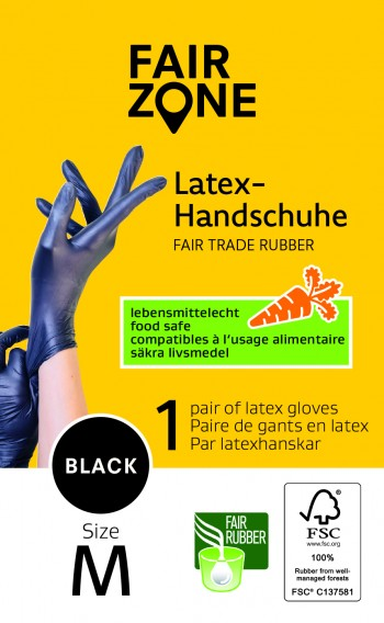 FAIR ZONE Black Foodgrade (lebensmittelecht) Rubber Gloves Medium 1 Paar