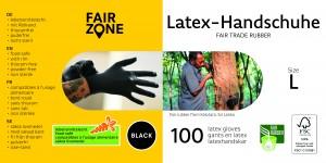 FAIR ZONE Black Foodgrade (lebensmittelecht) Rubber Gloves Large 100pc