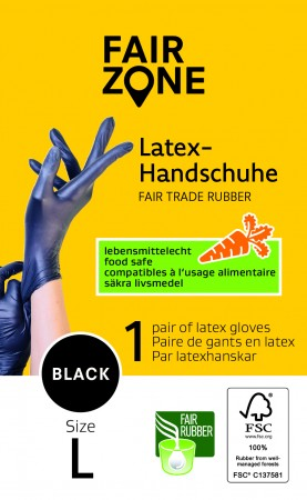 FAIR ZONE Black Foodgrade (lebensmittelecht) Rubber Gloves Large 1 Paar