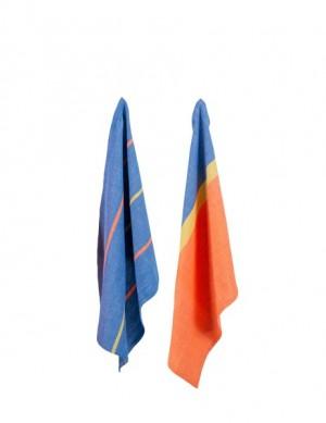 2er-Set Geschirrtücher 'Streifen' blau/orange